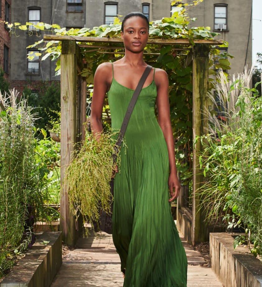 Vogue, green dress