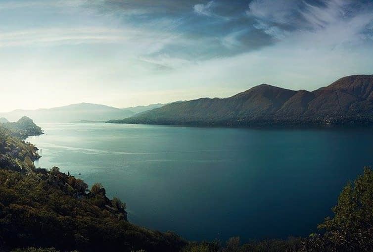 a lake, still deep water