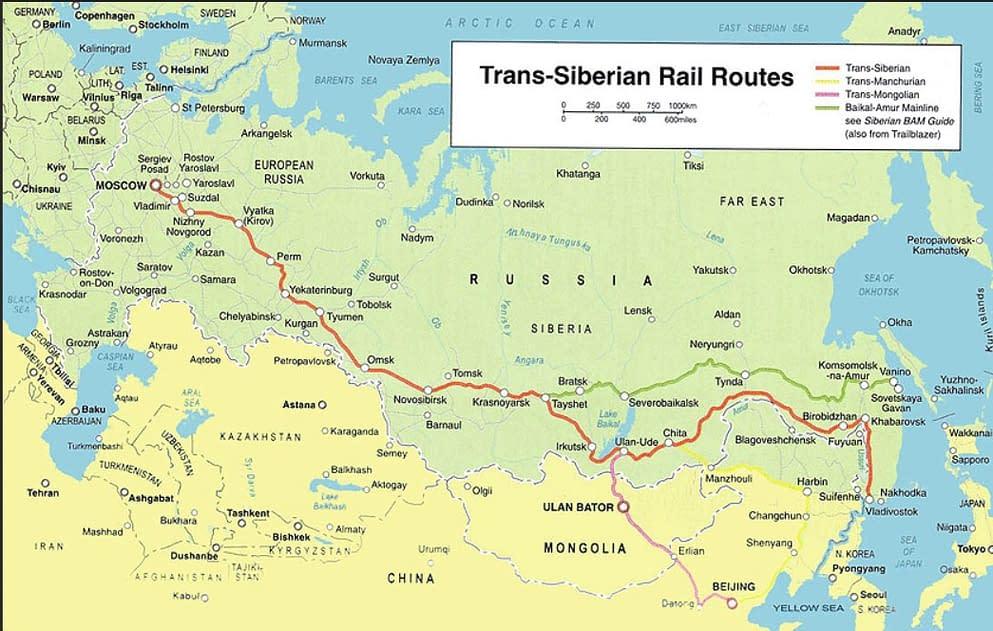 Map, trans siberian railway