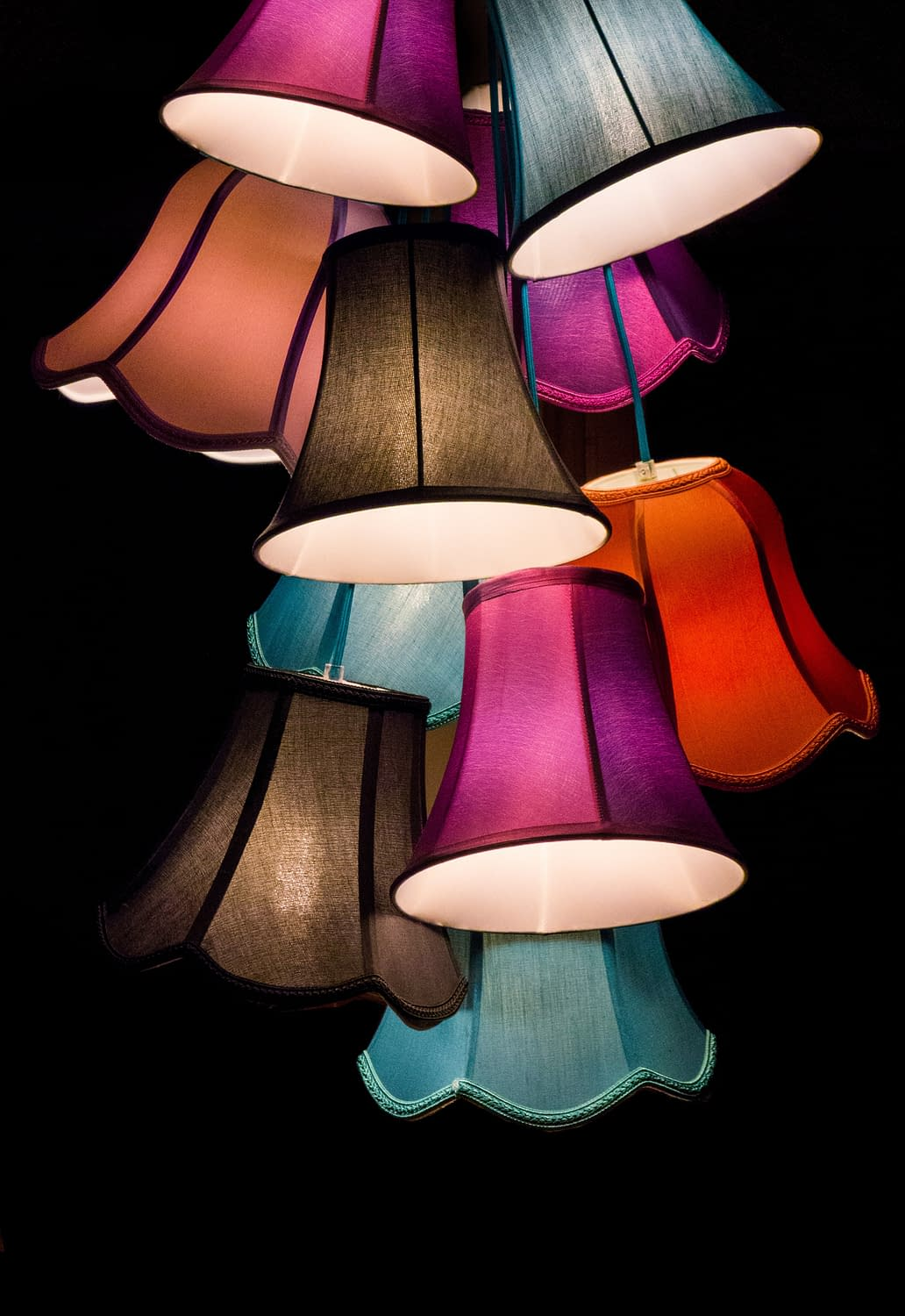 many lamps in different colors