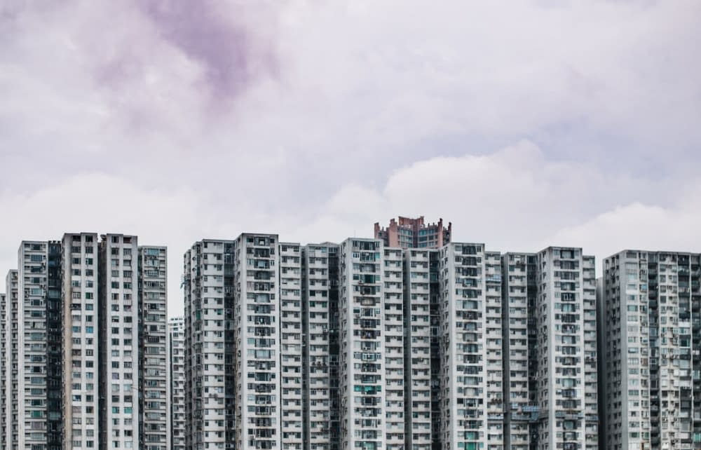 a forest of apartment blocks, brick