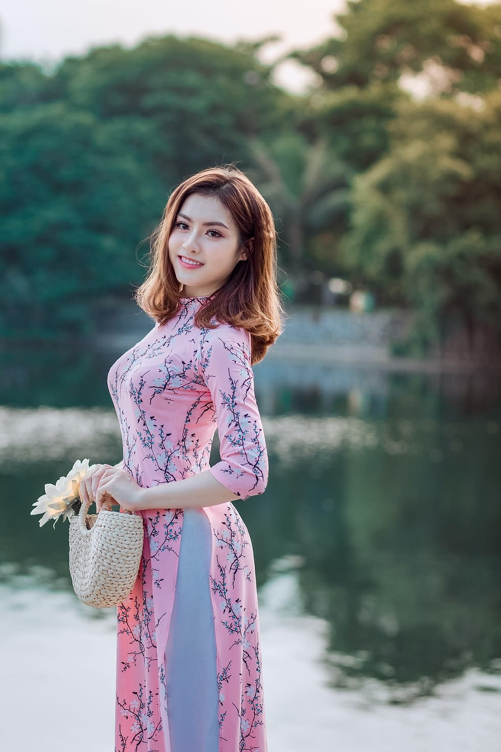 chinese girl in pink dress