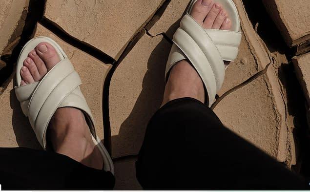 white Bhava sandals