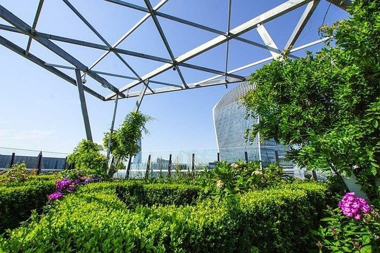 a park on a rooftop terrace of a business building