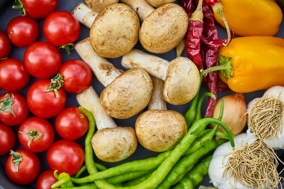 vegetables, tomatoes, champignons, and potatoes, peppers